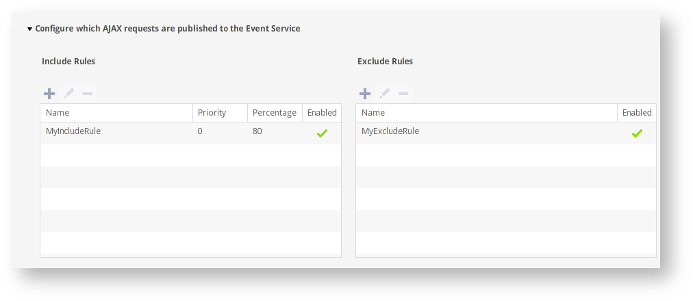 Configure Which Ajax Requests Are Sent to the Events