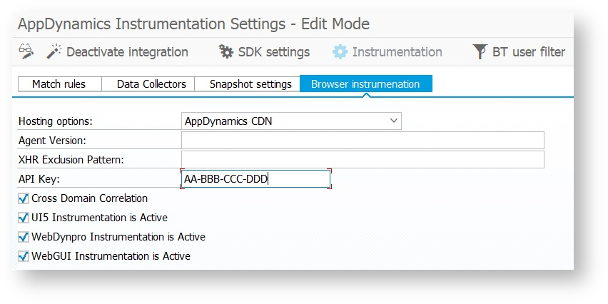 Browser End-User Monitoring - AppDynamics SAP Agent